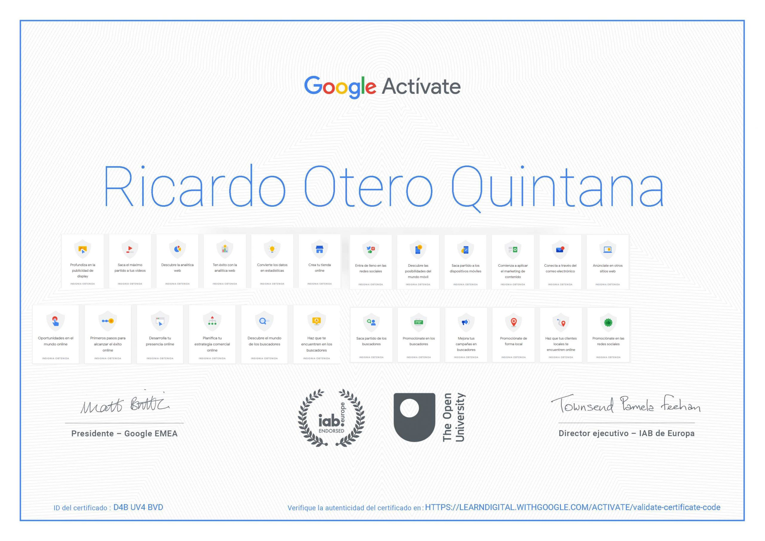 certificado google actívate